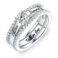 AILIN Engraved Promise Ring For Her Lady Birthstone&Name Rings Custom Engagement Ring Set With Cubic Zirconia Ring Size 6 12