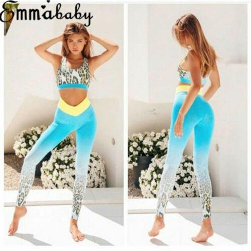 2Pcs Women/'s Sport Gym Yoga Vest Bra Sports Legging Pants Ladies Outfit Wear Set