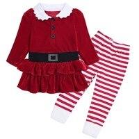 18M-6Years 2ピース新生児かわいい女の子ベルベットクリスマス服トップドレス+ストライプレギンスパンツセット衣装冬の次子供