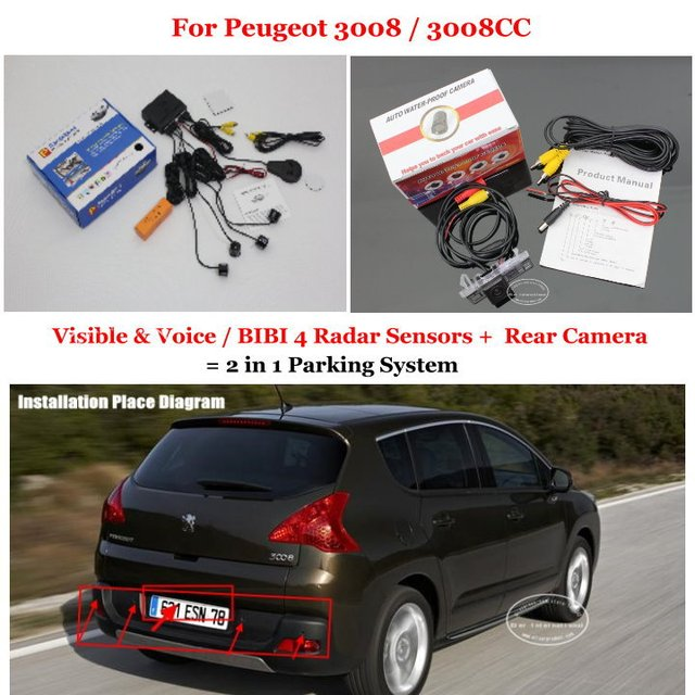 For Peugeot 3008 / 3008CC - Car Parking Sensors + Rear View Back Up Camera = 2 in 1 Visual Alarm Parking System