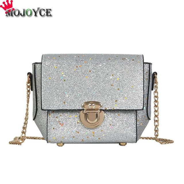 MOJOYCE PU Glitter Sequin Women Chain Sling Handbags Evening Party  Messenger Bag Female Shiny Fashion Shoulder Crossbody Bag 1b0558c9b55f
