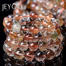 Genuine Natural Colorful Copper Rutilated Quartz Crystal Bracelet Brazil Woman Man Wealthy Round Beads Jewelry AAAAA
