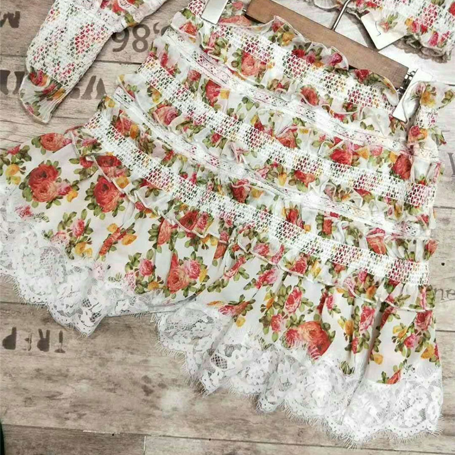 Floral Mini Imprimé Haute 2 jupes Longue Sexy Qualité Chemises Les Luxe De Été 1 Définit Femmes Marque Dentelle Pièce Manche Frissonnant v144nZ