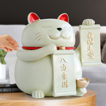 Chinese lucky cat Resin Statue with tissue box for tabletop Decor Fengshui gift shop hotel home Cat Craft