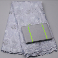 Latest Style High Quality African Swiss Voile Lace Matching Aso Oke Headtie Fabric For Wedding Dress