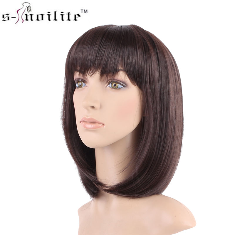 SNOILITE Real Natural 16inches 160g Silky Straight Party BOB Hair Wig Synthetic Wigs with Bangs Full Head None Lace short wig