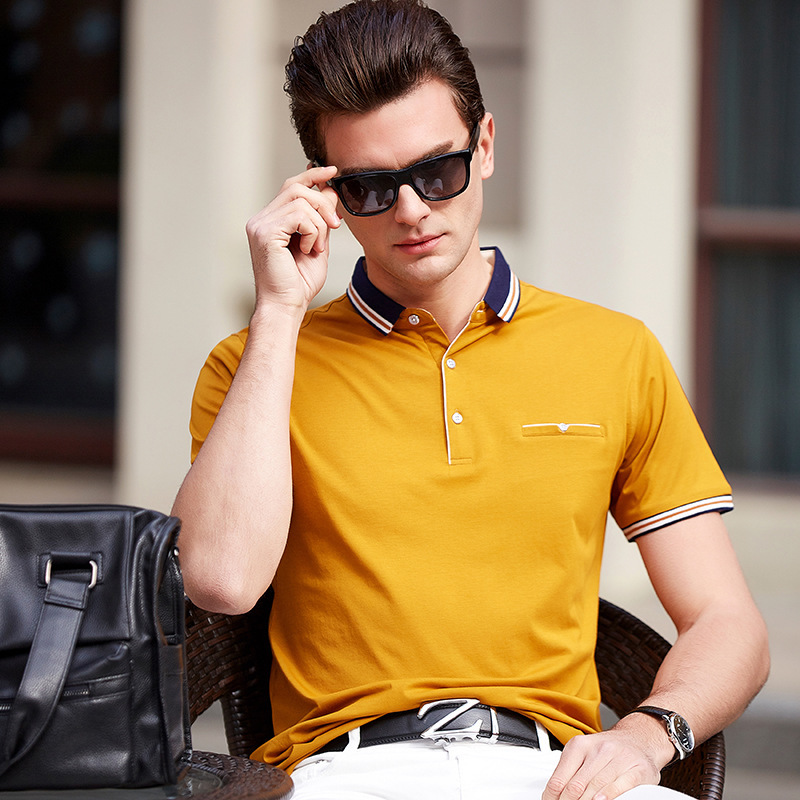 2019 summer new style lapel large size high quality cotton business casual men's short sleeve   Polo   shirt blue white red yellow
