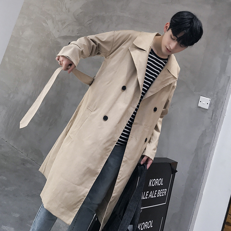 Khaki Trench Coat Men Double Breasted Long Coat Korean Trench Coat Fashion Mens Overcoat Plus Long Green Casual Male Long Jacket