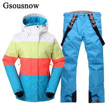 Brand GsouSnow Snowboard Women Ski Jacket and Pants Set Outdoor Winter Sport Snow Female Coat Overalls Waterproof Thick Ski Suit