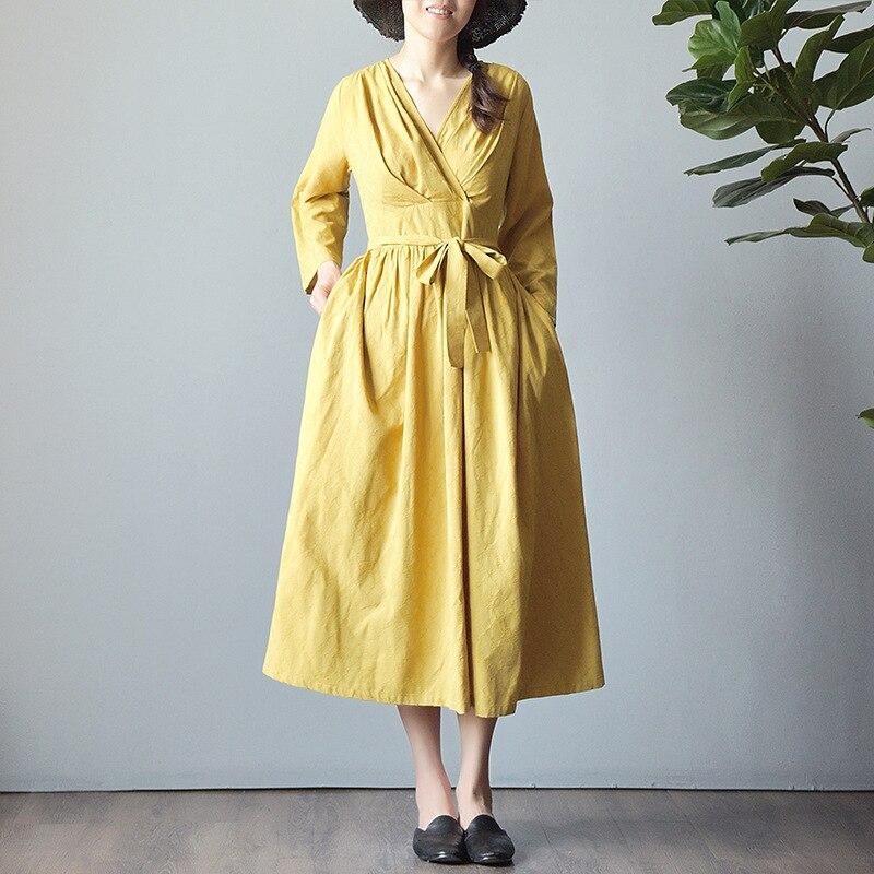 New Women's Autumn Dress V-neck Long Sleeve Pocket Lace Stitching Jacquard Cotton Linen Dresses