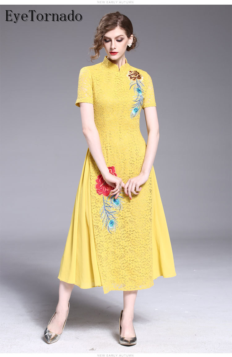Chinese style 2018 Women Vintage Flower Embroidery lace dress short sleeve Casual Chiffon Patchwork Beach ethnic boho Dresses