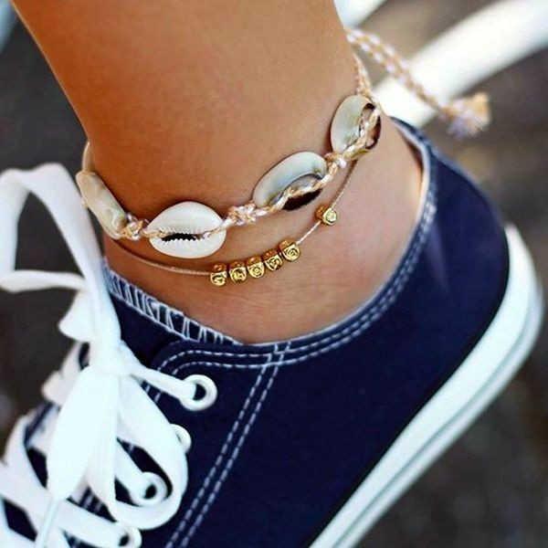 Czeski gwiazda powłoki kostki bransoletka na nogę Foot biżuteria proste powłoki obrączki dla kobiet plaża urok Boho akcesoria Mujer