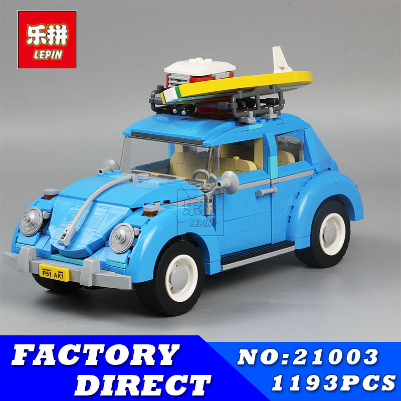LEPIN 21003 1193Pcs Creator Technic Series Blue City Car Volkswagen Beetle Model Building Blocks Bricks Compatible 10252 Toys new lepin 21003 series city car beetle model educational building blocks compatible 10252 blue technic children toy gift