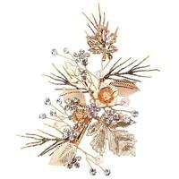 Elegante Vintage Bruid Vrouwen Goud Kleur Leaf Strass Haar Clip Pin Prom Bruids Haar Accessoire