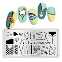 BORN PRETTY 12*6 CM Nail Stamping Plates Fashion Power Pattern Art Image Stencil Tool Rectangle Template