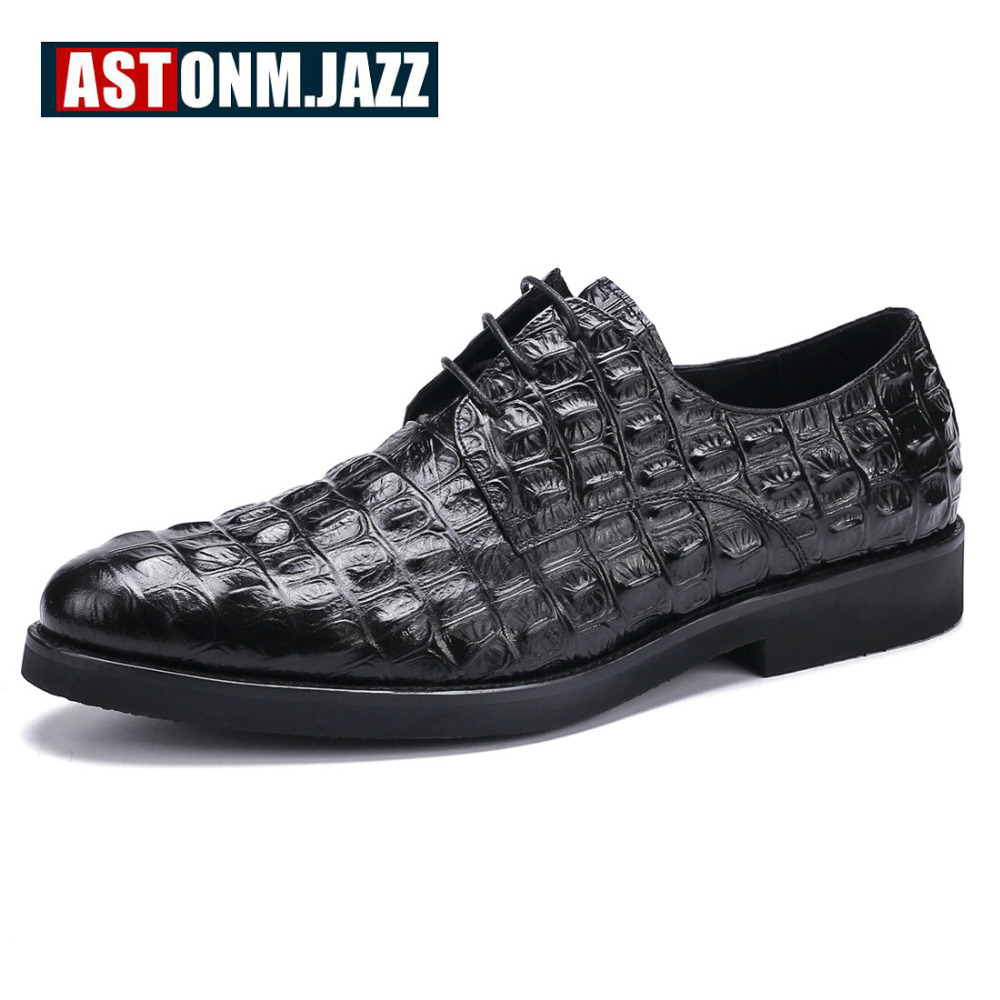 Men's Casual Genuine Leather Crocodile Oxfords Shoes Wedding Shoes For Mens Brogues Shoes Gentleman Business Shoes Moccasins New top quality crocodile grain black oxfords mens dress shoes genuine leather business shoes mens formal wedding shoes