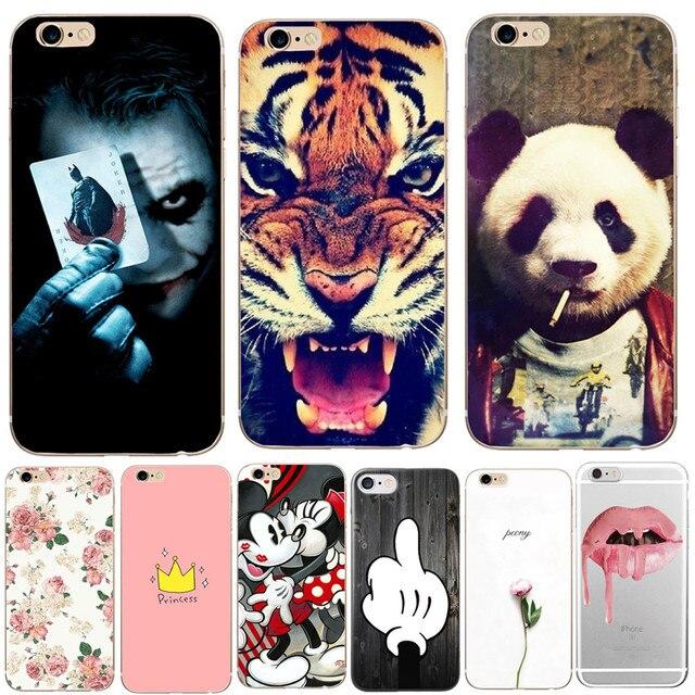 Điện thoại Bag Case Cho iPhone 6 6 S Trường Hợp Panda Flower Tiger Mềm TPU Silicone Back Cover Đối Với Apple iPhone X 8 Cộng Với 7 Cộng Với 5 S 5 S SE