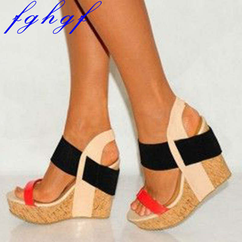FGHGF new Elegant free fashion multi colored leather 15 5cm wedge women sWedges sandals