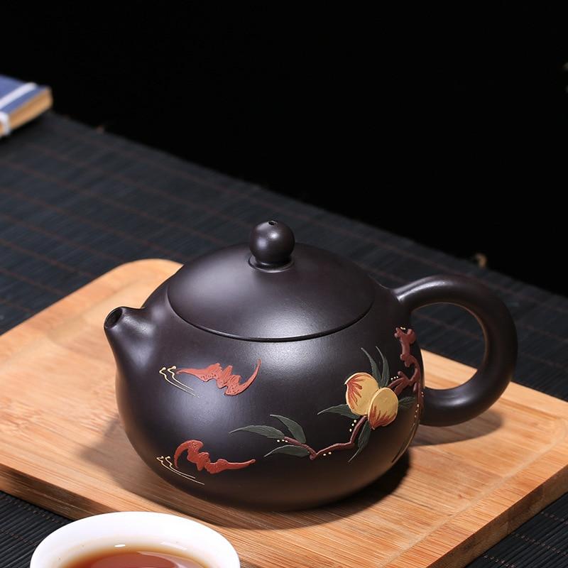 200ML xi shi Yixing teapot handmade zisha tea pot ore purple clay kettle with gift box suit tie guan yin black tea200ML xi shi Yixing teapot handmade zisha tea pot ore purple clay kettle with gift box suit tie guan yin black tea