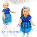New Design 18'' American Girl Doll Cloth With Dark Blue Color High End Dress Wholesale In American Girl Doll Accessories Market