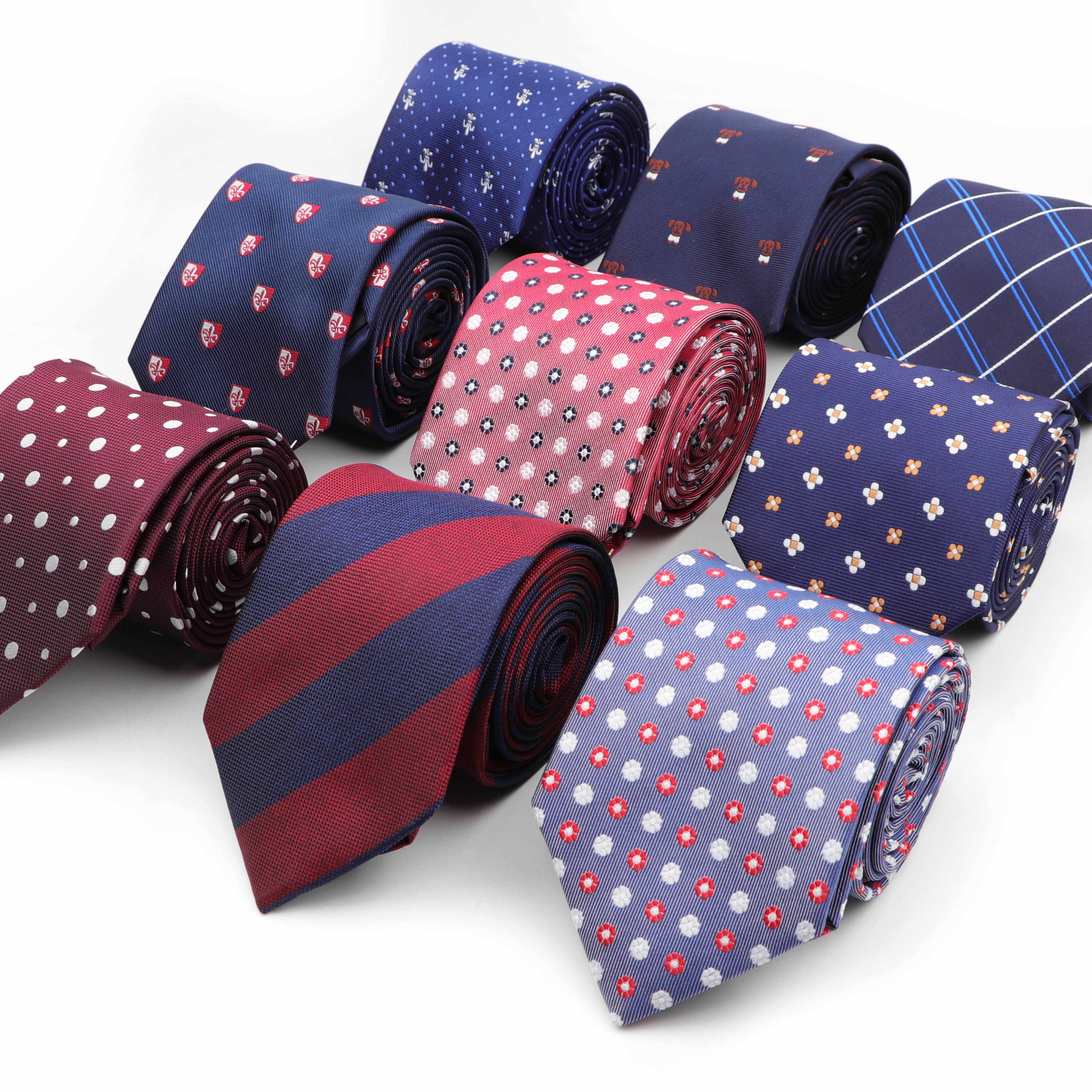 8cm Silk Casual Ties For Men Classic Polyester Woven Party Jacquard Slim Neckties