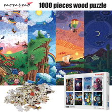 MOMEMO Jigsaw Puzzle Cartoon Scenery Day Alternates with Night 1000 Pieces Adult High Definition Wood Puzzles