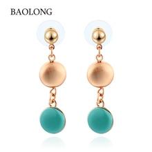 BAOLONG 2017 New Romance Style Brand Jewelry Bohemian Hanging Earrings For Women Rose Gold Drop Earrings Gift  Free Shipping