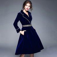 Women 2017 Autumn Winter Elegant Long Sleeve Long Skirt V Neck Slimming Skirts Female Mid Long