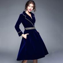 aeb69c3814bd1 Women 2017 Autumn Winter Elegant Long Sleeve Long Skirt V-neck Slimming Skirts  Female Mid-long Velvet Trench New Skirt With Belt