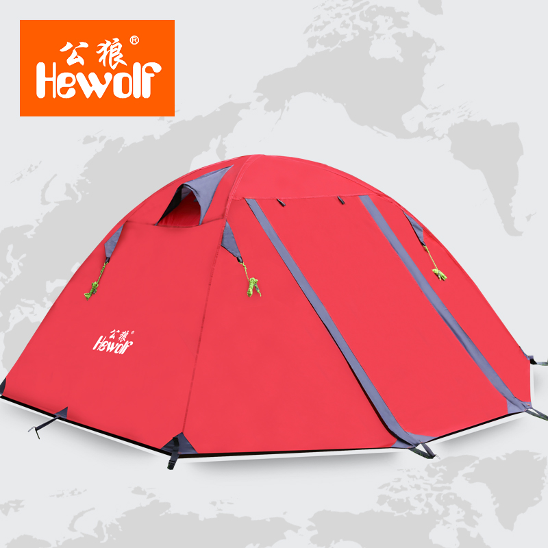 Hewolf high quality 2 person double layer camping equipment round aluminum rod rainproof outdoor tent стоимость