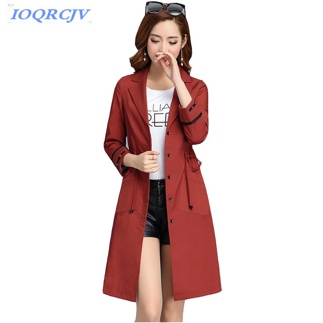 2018 Fashion Trench Coat Women Spring Thin Outerwear Plus size Autumn Belt Slim Female Windbreaker Coat Casual Tops IOQRCJV N033