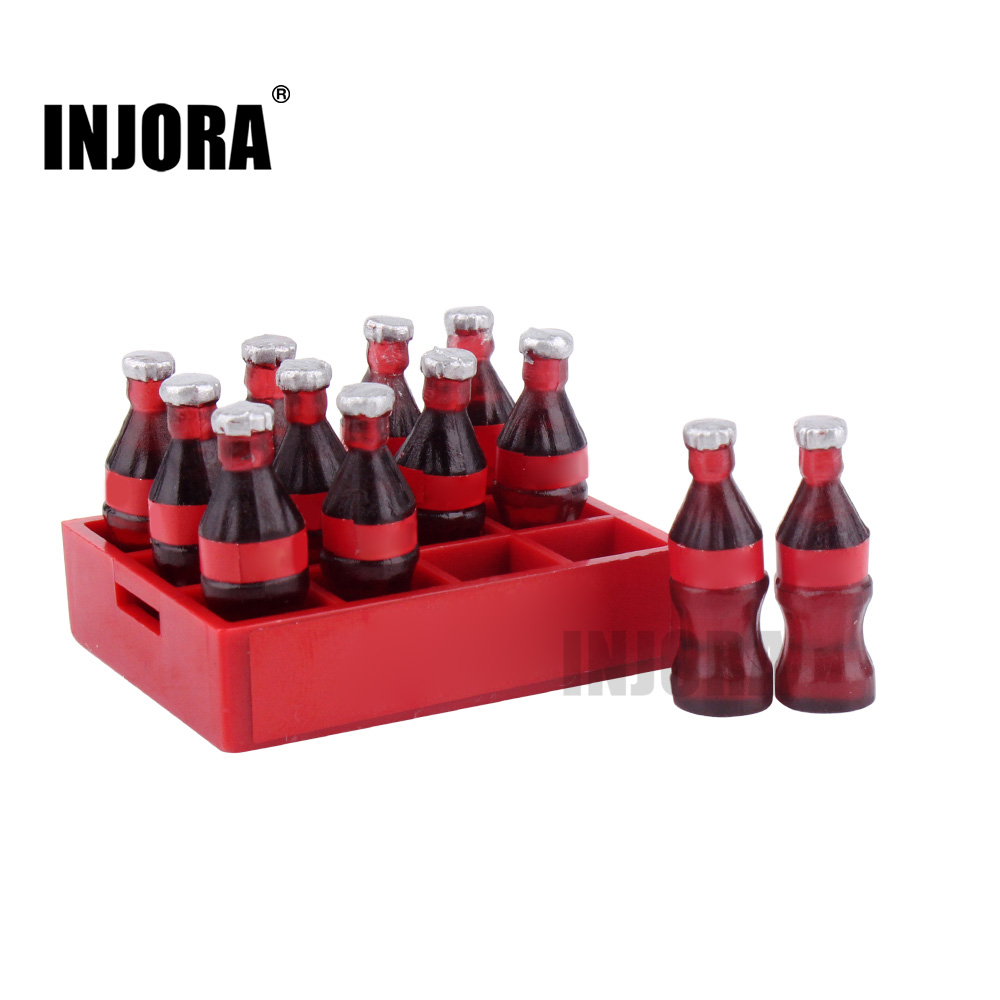 INJORA 1PCS Mini Coke Bottle & Tray With Logo For 1/10 RC Crawler Traxxas TRX-4 Tamiya CC01 Axial SCX10 90046 MST RC Car