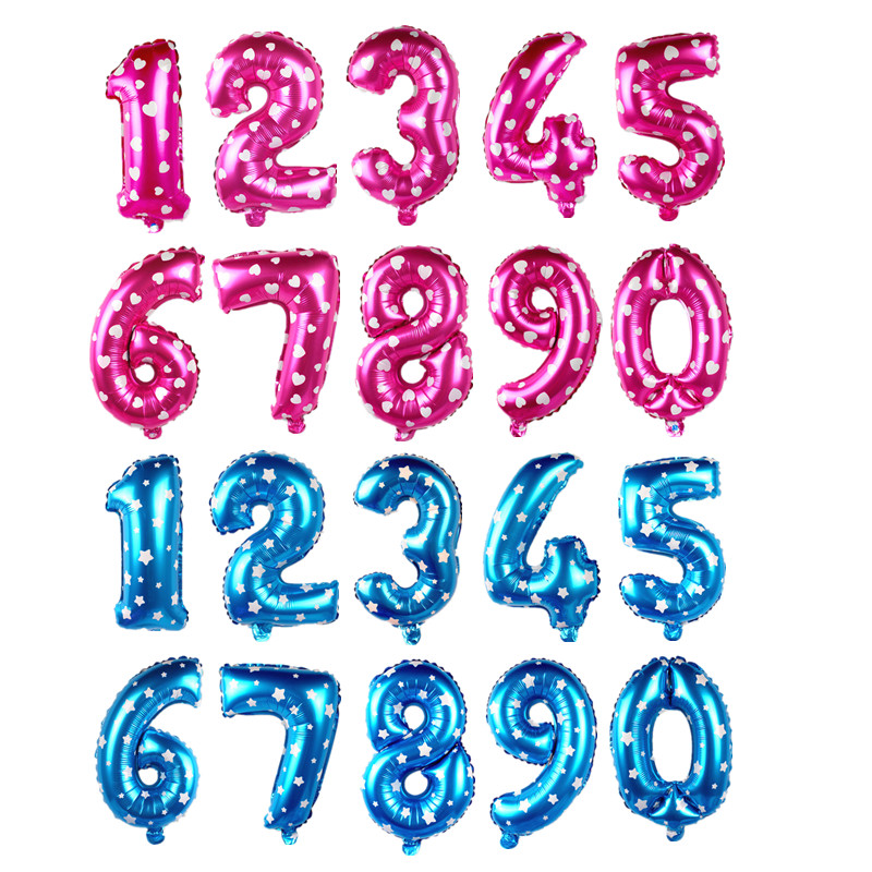 0-9 Digit Party Ballons 16 inch Birthday Number Letter Balloon Pink Blue Foil Helium Balloons Wedding Party Decor Balloon