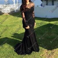 Халат De Soiree Longue 2018 Русалка вечернее платье одежда с длинным рукавом аппликации платье для выпускного бала Сделано Черный Вечерние платья
