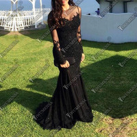 Robe De Soiree Longue 2018 Mermaid Evening Dress Long Sleeves Appliques Prom Gowns Custom Made Black Formal Evening Dresses