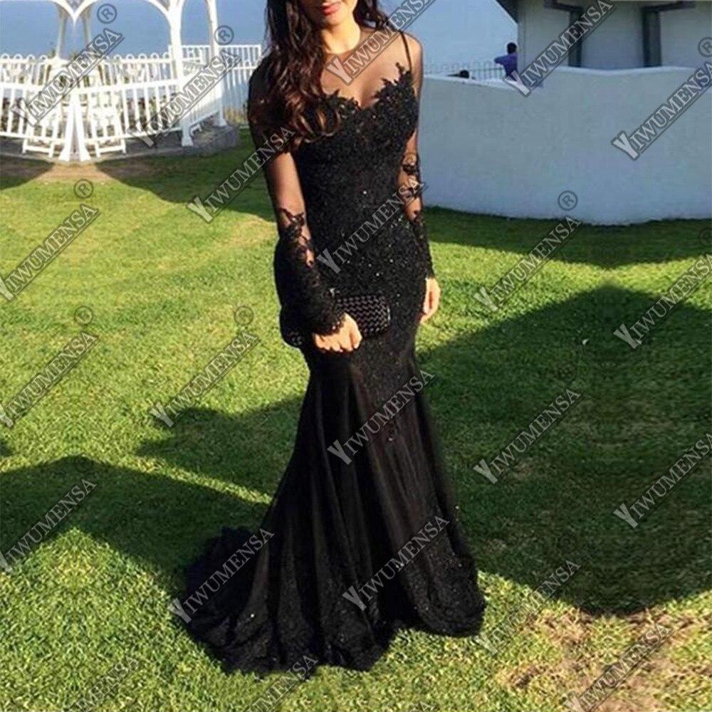 Robe De Soiree Longue 2018 Mermaid   Evening     Dress   Long Sleeves Appliques Prom Gowns Custom Made Black Formal   Evening     Dresses