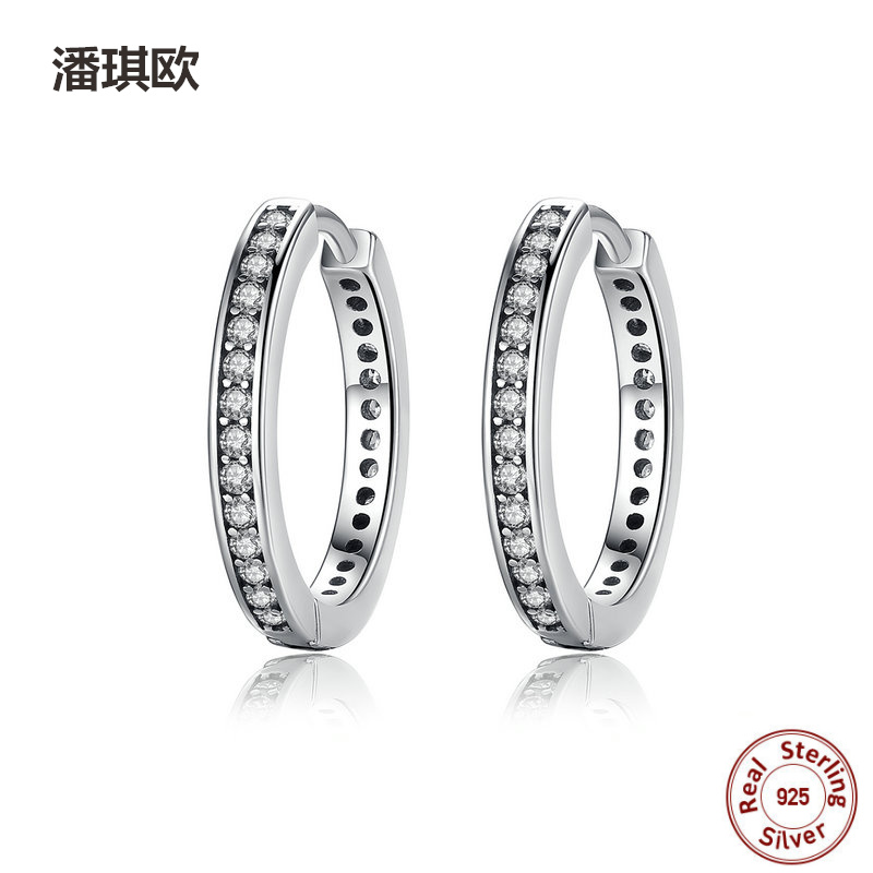 Europe NEW Retro 925 Sterling Silver Eternity Hoop Earrings With Clear CZ For Women Compatible with pan jewelery Earring