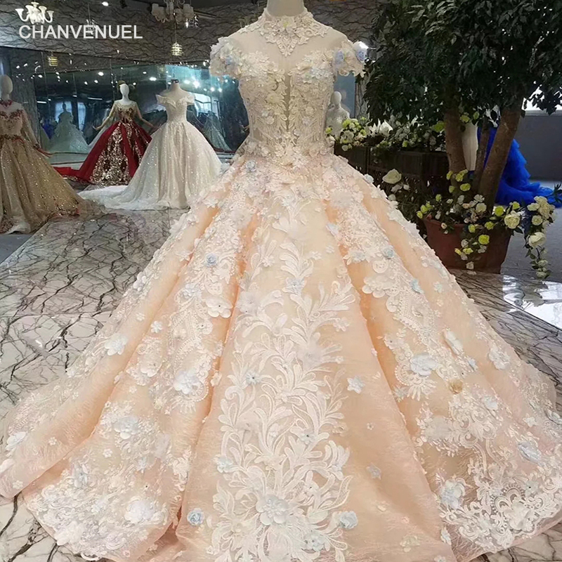 LSS379 girls ball gown evening dresses floor length color flowers high neck cap sleeve lace up back prom dresses curve shape