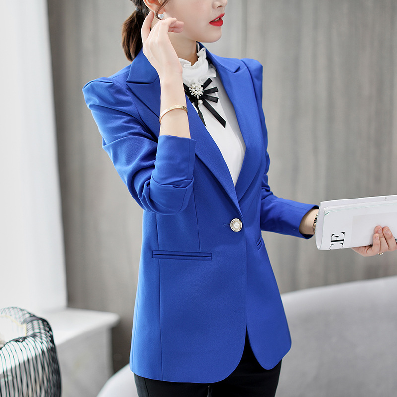 Suits & Sets Back To Search Resultswomen's Clothing Women Slim Long Sleeve Formal Blazer Ol Fashion Notched Collar Jacket Office Ladies Suit Work Wear Blue Black Coat Top Sale Overall Discount 50-70%