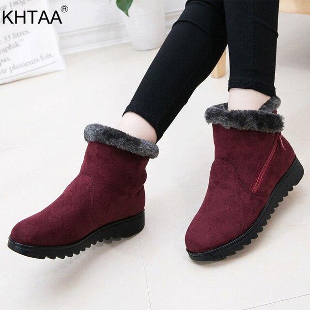 Frauen Zip Winter Schnee Stiefel Damen Warme Pelz Wildleder Wedge Ankle Boot Weibliche Mode Casual Schuhe Komfort Schuhe Plus Größe