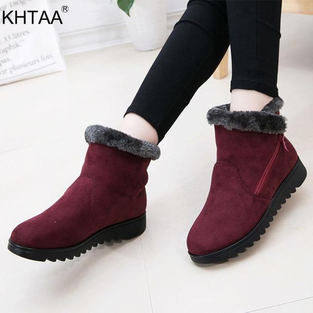 Kadın Zip Kış Kar Botları Bayanlar Sıcak Kürk Süet Kama bileğe kadar bot Kadın moda rahat ayakkabılar Konfor Ayakkabı Artı Boyutu