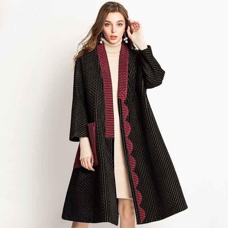 Poche Manteaux Taille Grande Mode Et À Longues Femmes burgundy Point Manteau Nouvelle Manches Amples Velours Plis Automne Miyake Black Ouvrir Coat D'hiver Coat WHD9E2YI