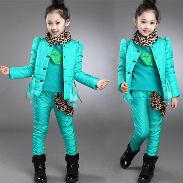 2016 Cotton Leopard Bow Warm Winter Girls Clothing Sets three Pieces Suit Active Sets  Princess Children's Coats Student