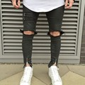 2016 Fashion Skinny Jeans Men Knees Holes Distressed Biker Jeans Slim stretched high street Jeans Mens vaqueros hombre MY111