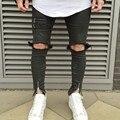 2016 de Moda Skinny Jeans Hombres Rodillas Agujeros Jeans Apenada Del Motorista Delgado estirado high street Jeans Para Hombre vaqueros hombre MY111