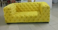 Top Graded Cow Real Genuine Leather Sofa Sectional Living Room Sofa Neoclassical Couch 2 Seater Chesterfield