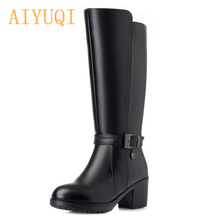 AIYUQI  high heels female boots 2019 new genuine leather women winter wool boots,large size 41 42 women's motorcycle boots new motorcycle genuine leather boots racing boots touring boots riding road boots size 39 45
