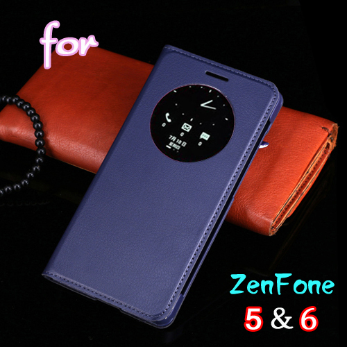 Smart View Auto Sleep Wake Function Leather Case Flip Cover Battery Housing Shell Holster Asus ZenFone 5 6 - Asuwish Personalized Store store