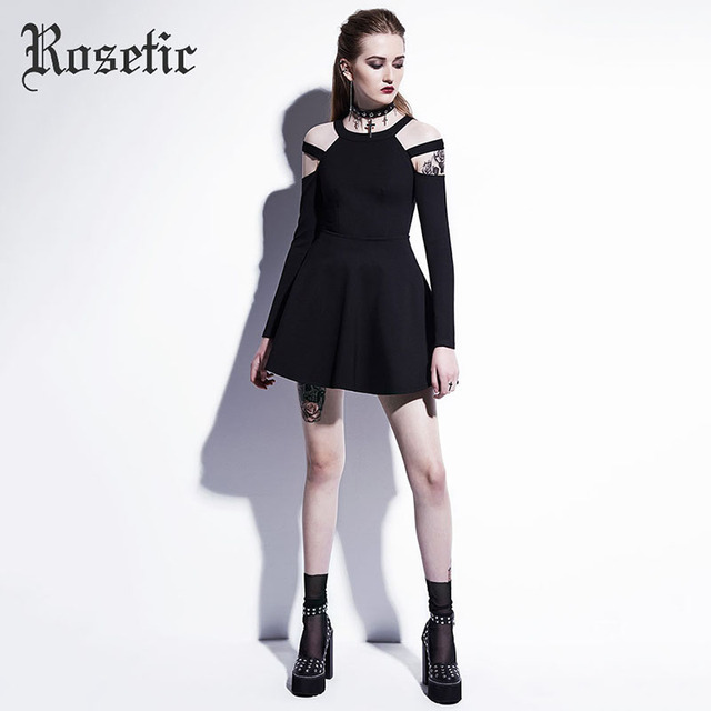Rosetic Gothic Mini Dress Black Fashion Hollow Autumn Women Casual Dress Dark Street Wild Sexy Preppy A-Line Goth Mini Dresses 1
