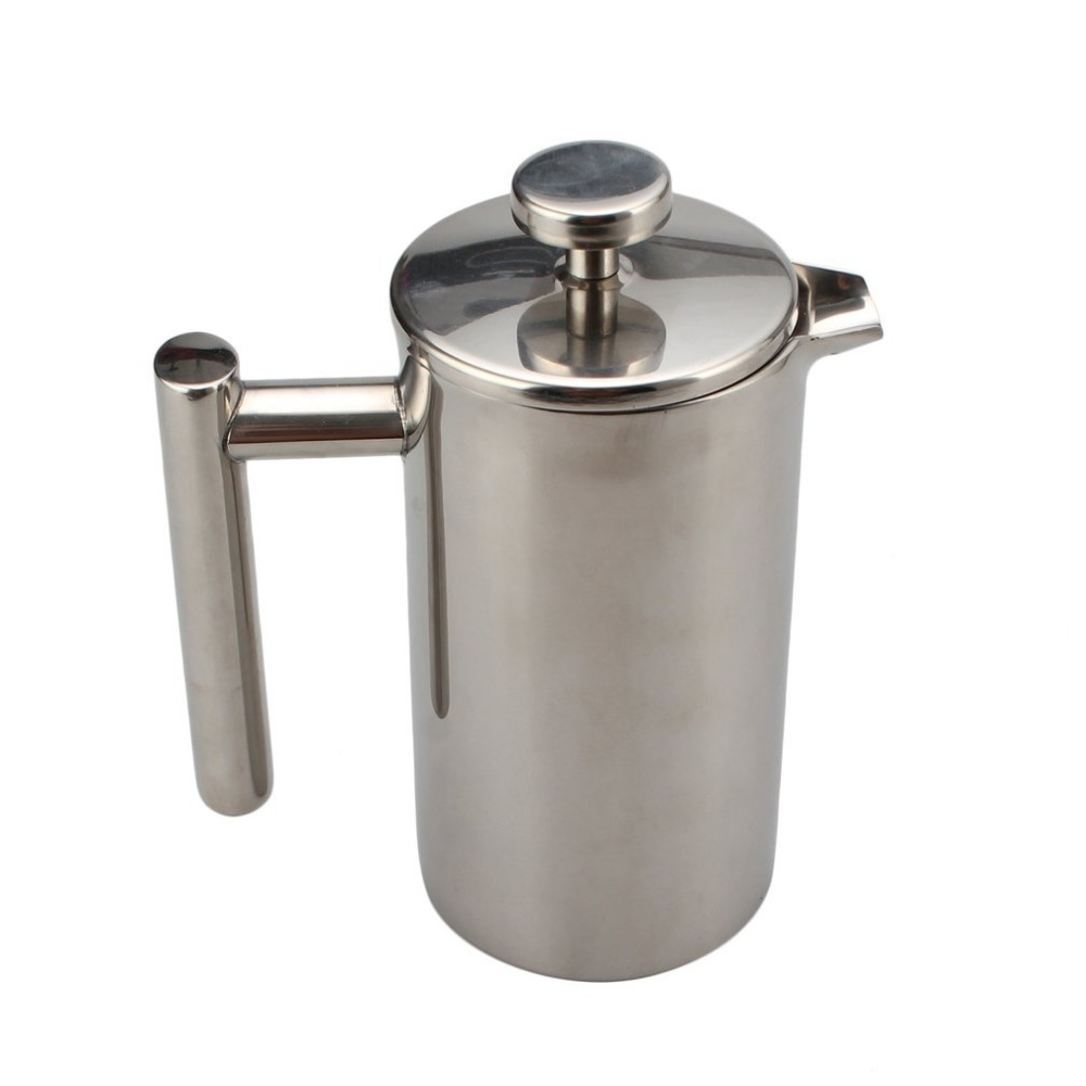 304 Stainless Steel Double Wall Insulated Coffee Pot Portable French Press Coffee Tea Pot with Filter for Household Teapot цена